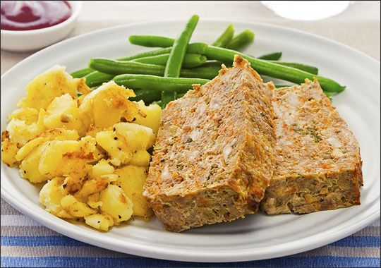 Meatloaf with Green Beans and Smashed Potatoes