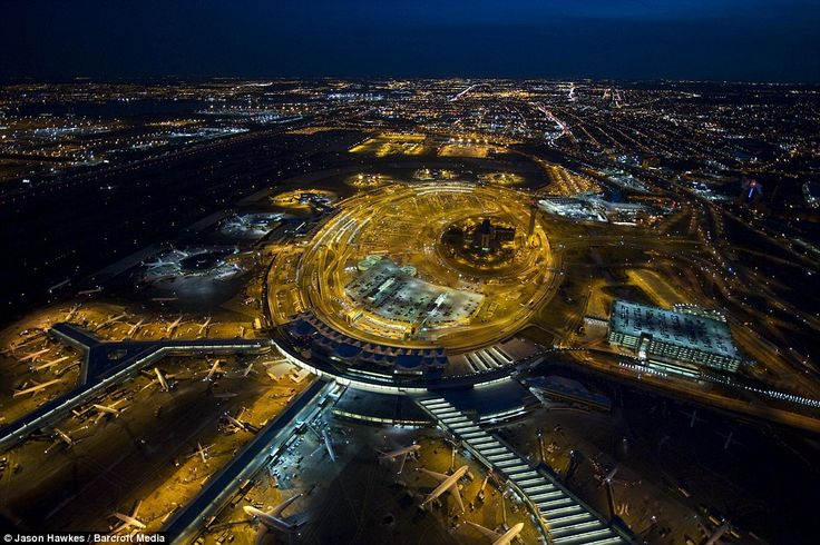 Lofty images: Newark Liberty International Airport. The photograph is one of 130 shots which feature in a new collection by specialist aerial photographer Jason Hawkes