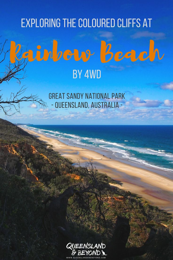 Rainbow Beach in sunny Queensland, Australia, is best explored by 4WD. It's actually not far from the Sunshine Coast, and if you love the beach, a day trip is a must. But find out how you can easily spend a couple of days camping and exploring the coloured sands of Rainbow Beach. 🌐 Queensland & Beyond #australia #queensland #rainbowbeach #4WD #camping