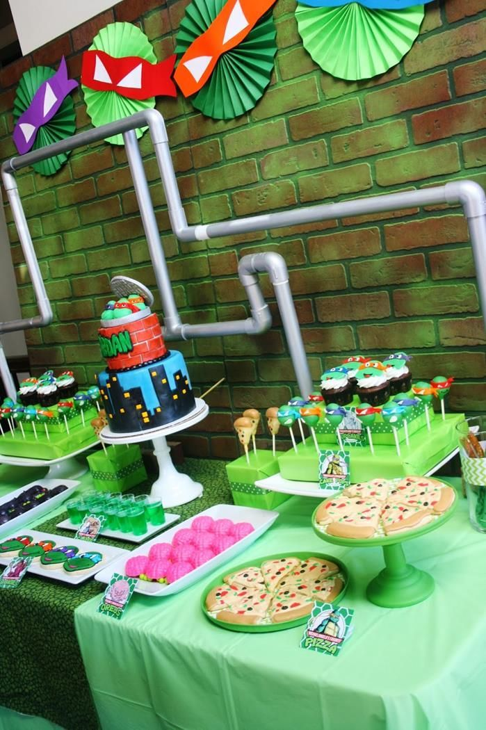 Teenage Mutant Ninja Turtles Party with   Lots of Really Cool Ideas via Kara's Party Ideas   KarasPartyIdeas.