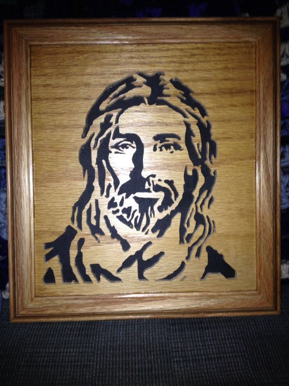 This is a scroll saw portrait of Jesus Christ.