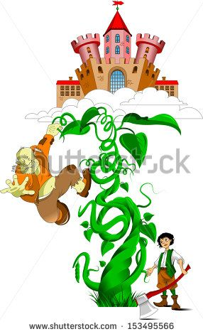 ancient castle in the clouds and bean sprout, vector