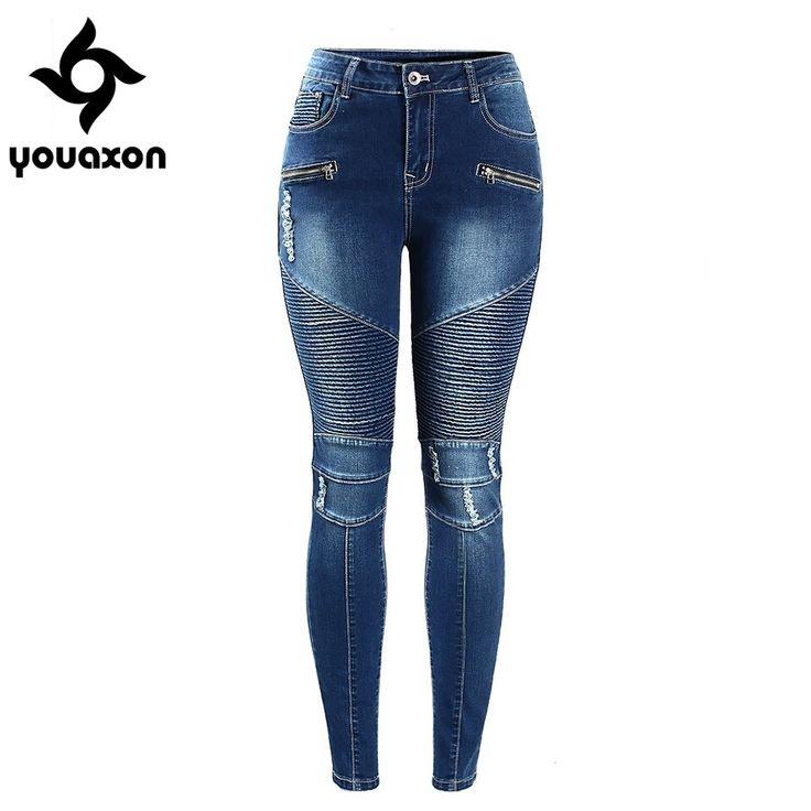 Youaxon Women`s Motorcycle Biker Zip Mid High Waist Stretch Skinny Pants Motor Jeans For Women