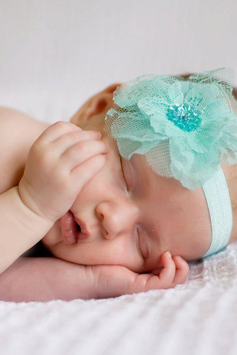 Flower Headband, Lace Flower Baby Headband, Newborn, Infant, Toddler, Girl, Photography Prop, Valentines Headband. $9.95, via Etsy.