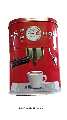 Wer verkauft das billigste Kaffeedose Blechdose Vorratsdose mit 3D Motiv Kaffeemaschine Aufbewahrungsdose Kaffee Dose (Rot) A Bewertungen