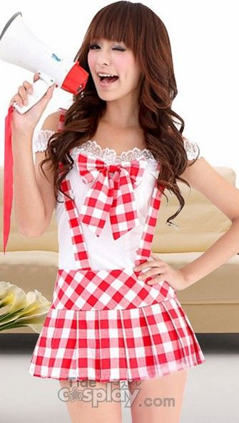 Cute White And Red Off-The-Shoulder Sexy School Girl Costume