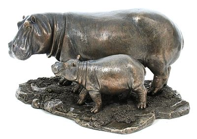 Hippo and Young Kiboko Spirit of Africa Bronze ZA58004