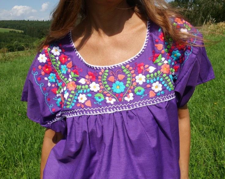 Mexican hand embroidered gypsy blouse L/ XL boho - Blusen by santa-fee - Tops - Plus Size - DaWanda