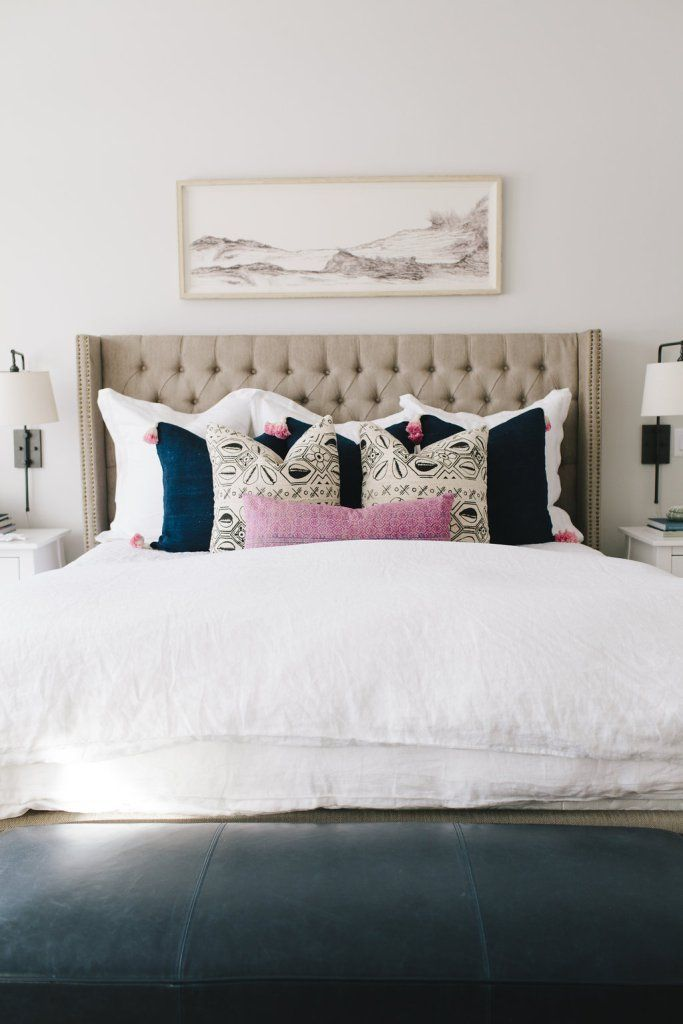 25 best ideas about art above bed on pinterest bedding for Headboard made pillows