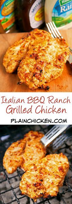 Italian BBQ Ranch Grilled Chicken Recipe - simply 4 ingredient recipe! Let the chicken marinate all day in this yummy mixture for the yummiest, juiciest chicken ever! Leftover are great on top of a salad, in a quesadilla or on top of a yummy flatbread.
