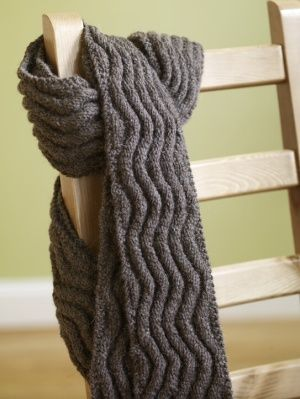 Image of Meandering Rib Scarf.  EASY KNIT PATTERN! FREE.