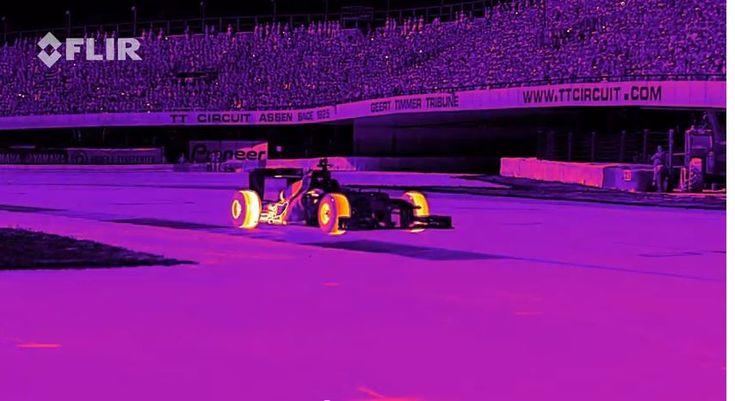 F1 Racing Car Tyre Burning Through Infrared Camera !