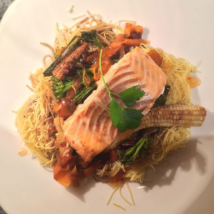 Bombay Noodles, Crunchy Vegetables and Salmon