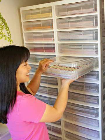 Use Clear Plastic Paper Containers To Make Finding Patterns And Colors Easy | Better Homes and Gardens