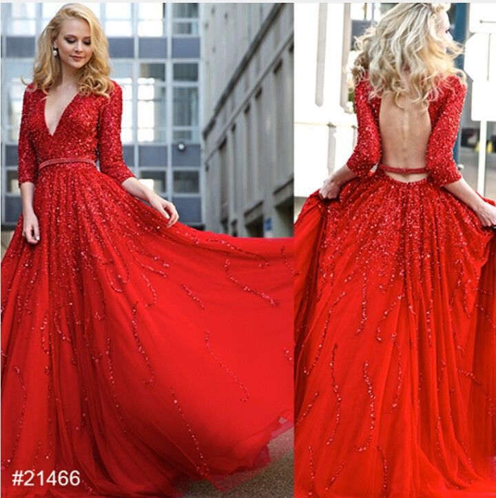 2017 Red A-Line Evening Dresses with Appliques Beads Deep V Neckline Hollow Back Sashes Party Gowns Three-Quarter Sleeves Robe