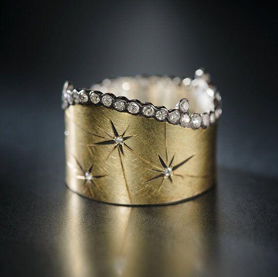 18k yellow Gold and Diamond Starburst Constellation Ring
