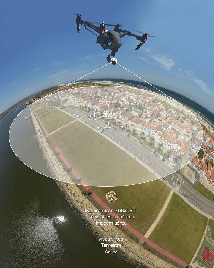 Panoramas 360º Aéreos, video e fotografia aérea. Visitas virtuais 360º , modelação 3D, fotografia 360º geral. O panorama 360º aéreo interactivo, dá-nos um  alargado campo de visão, e a optima percepção da envolvente do lugar visitado, indicado para conteúdos turisticos, imobiliários ou para a arquitectura.