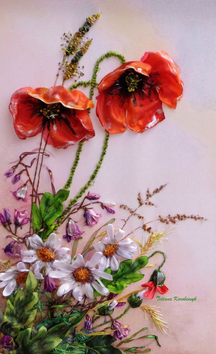 "picture ""Wildflowers"",  Silk ribbon embroidery di SilkRibbonembroidery su Etsy"