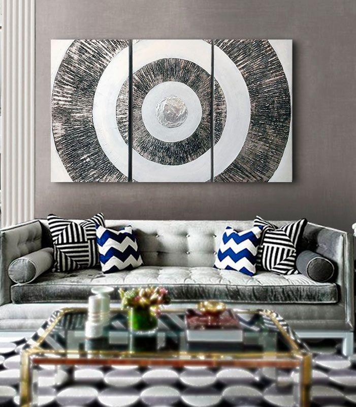 cuadros modernos para el sofa, cuadros plateados, abstractos ...