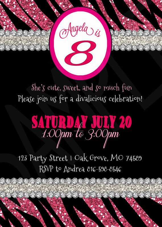 17 Best images about Pink Zebra Birthday Party – Diva Party Invitations