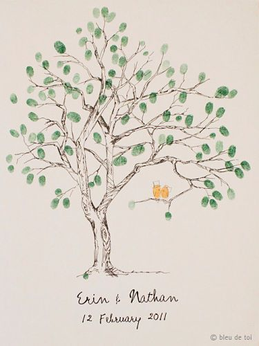 The finger print tree - a wedding guest book alternative.