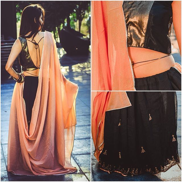 Perfection is not about appearance. It's a state of mind. When you and your outfit are in total agreement!  Wear your opinion.  Details: Embrodary Jute Lehngha ,Simmery Cotton top and  Glitter Peach Duptta   DM for HQ picture and details ✨ PC @shuttersoul  #peachblack #loveglitters #indowestern #indianweddings