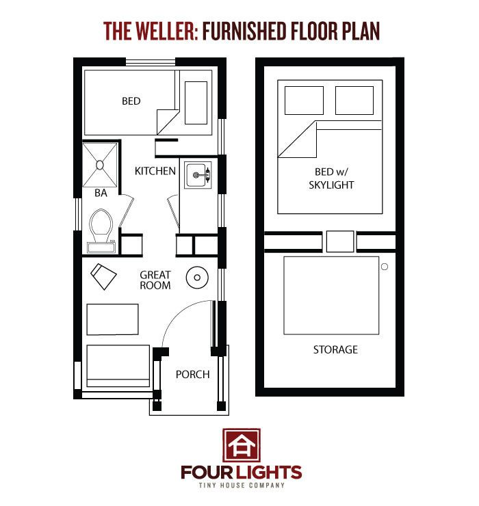 Tiny house on wheels the weller floor plan 115 sq ft for Mini house plans