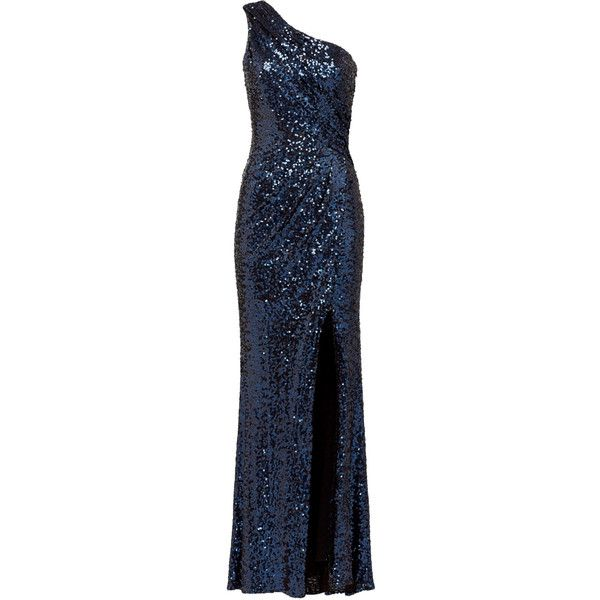 Rental Badgley Mischka Navy Constellation Gown (£71) ❤ liked on Polyvore featuring dresses, gowns, gown, long dress, blue, blue evening gown, blue gown, long navy blue dress, long sequin dress and long dresses
