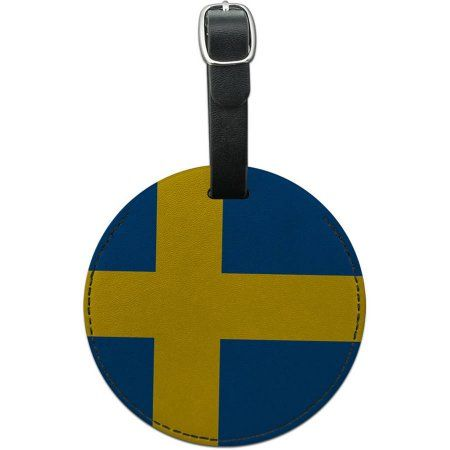 Sweden National Country Flag Round Leather Luggage ID Tag Suitcase Carry-On, Multicolor