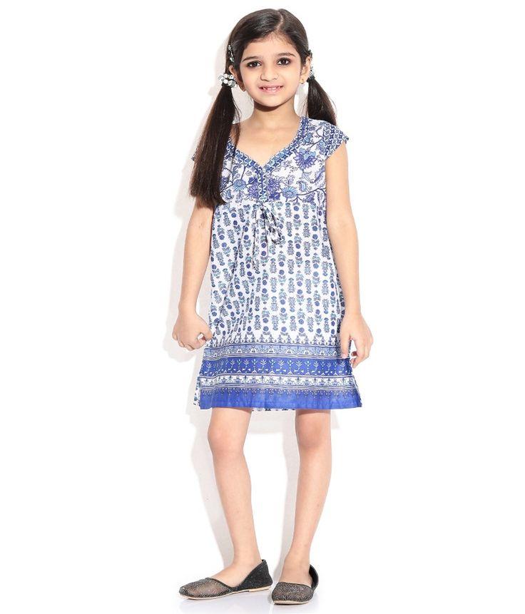 BIBA Cap Sleevs White Color Kurti For Kids