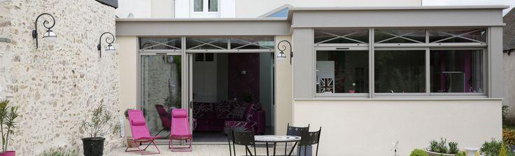 extanxia, véranda concept alu, vue extérieur grande salon cuisine et puits de lumière