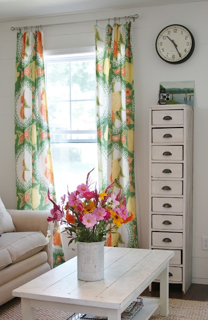 swooning over these curtains    Flower Patch Farmgirl: Our Living Room and the Icing on the Cake