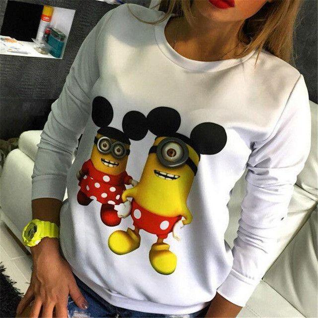 Falacs zozo Autumn and Winter New Fashion Women Casual Sweatshirt Long Sleeve Minions Printing Sweatshirt
