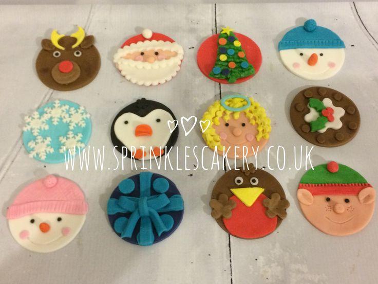 12 Handmade fondant Christmas themed cupcake toppers