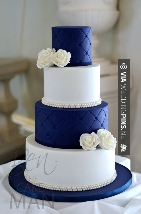 So awesome! - Quilted blue wedding cake.  INSPIRATIONS CAKES 2016 AT WEDDINGPINS.NET