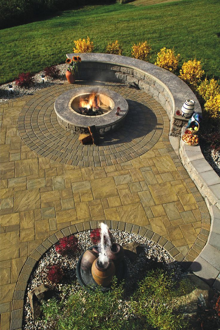 Cambridge pavingstones wall systems color options - Custom Paver Patio Using Cambridge Pavingstones With Armortect Firepit