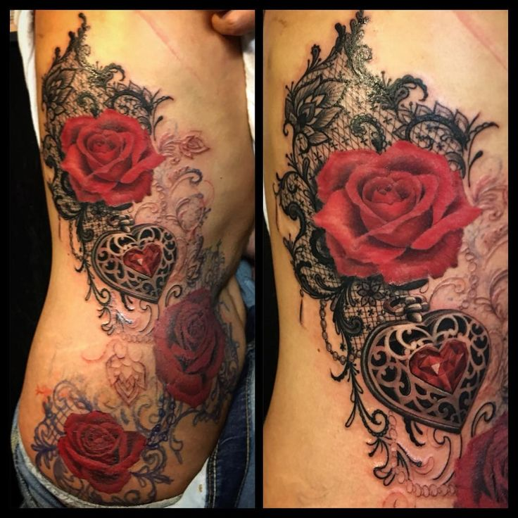 amazing tattoo Love the lace #Freehand #lacetattoo #jeweltattoo #embossed#heart#redroses#girlytattoo #guivy #geneve#gva#switzerland