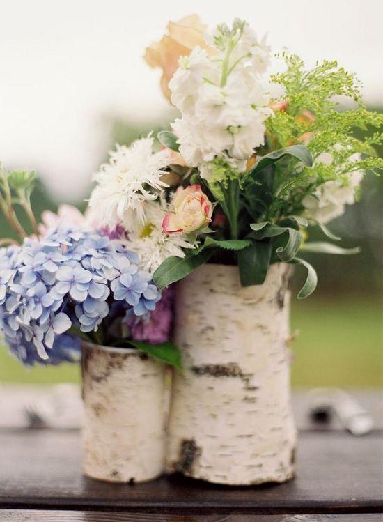 winery vineyard birch bark wedding centerpieces / http://www.himisspuff.com/rustic-wedding-centerpiece-ideas/2/