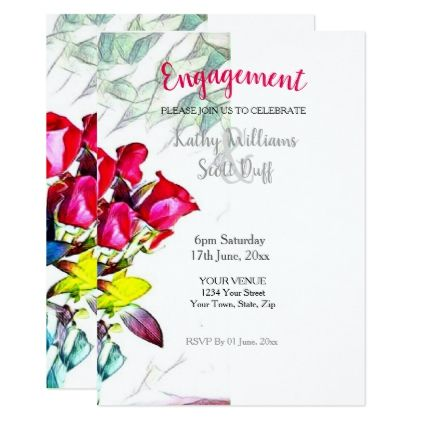 #024707 Floral Engagement Invitation - template gifts custom diy customize
