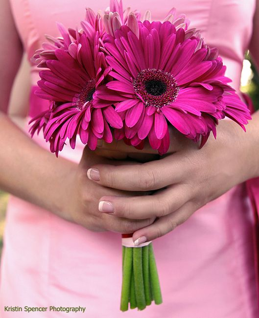 Stoneblossom Florals' Pink Gerber Daisy Bouquet. Gerber Daisies symbolize cheerfulness.
