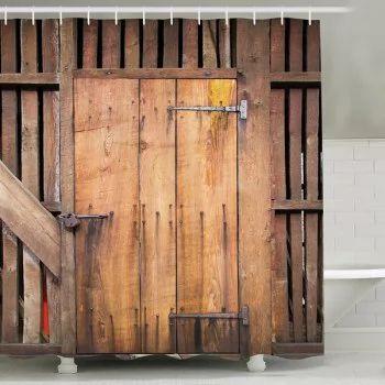 Vintage Wood Door Print Polyester Fabric Shower Curtain - LIGHT BROWN 150CM*180CM