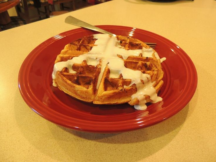 Cinnamon Roll waffle with icing instead of syrup