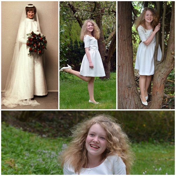 My Mothers Wedding Gown Repurposed As Dress For Daughters Confirmation In Church