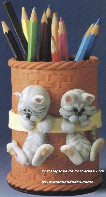 Portalápices gatitos de porcelana fría en Manualidades con ...