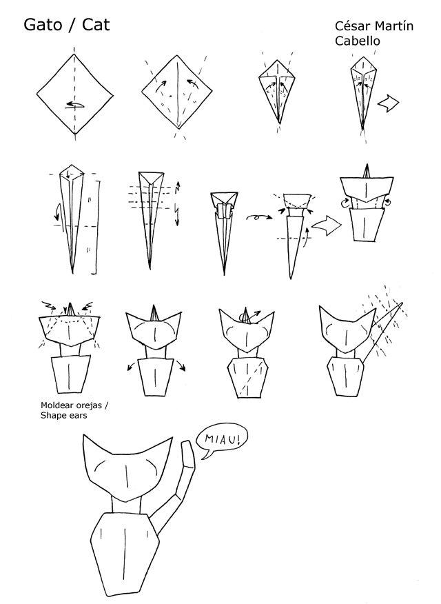 Origami: Cat diagrams by ~Pepius on deviantART
