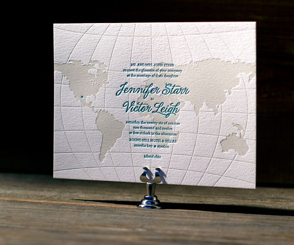 Destination Wedding Invitations For The Modern Jet Setter Clic Is Letterpress Cool With A