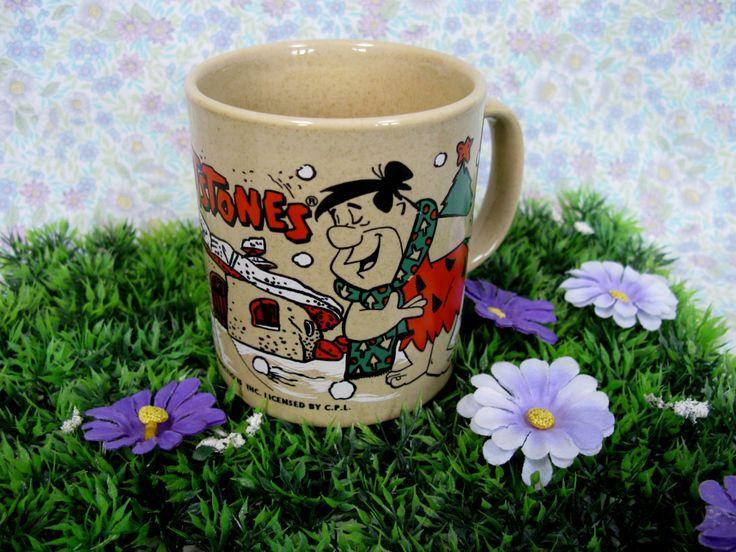 The Flintstones Mug - Fred Flintstone - Hanna Barbera - 1970s Cartoons - Bedrock City - Dino - Flintstone Christmas - Christmas Mug by MissieMooVintageRoom on Etsy