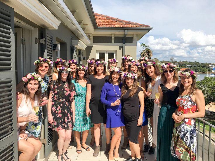 sydney flower crown hen workshop @ dunbar house Watsons Bay #sydneyflowercrownworkshop #bridalshower #partyideas