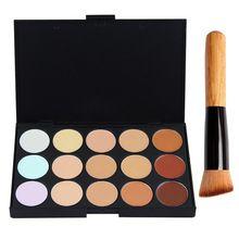 15 Cores Concealer Palette Camouflage Creme Para o Rosto de Maquiagem Concealer Palette + Multi-Função de Contorno Blush Em Pó Jogo de Escova PD002 alishoppbrasil
