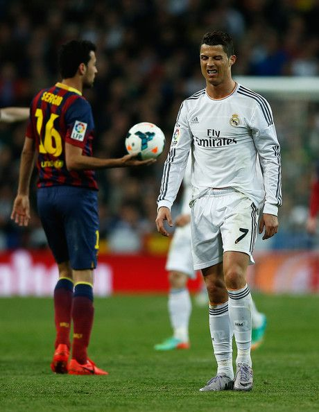 Cristiano Ronaldo of Real Madrid grimaces during the La Liga match between Real Madrid CF and FC Barcelona at the Bernabeu on March 23, 2014 in Madrid, Spain.